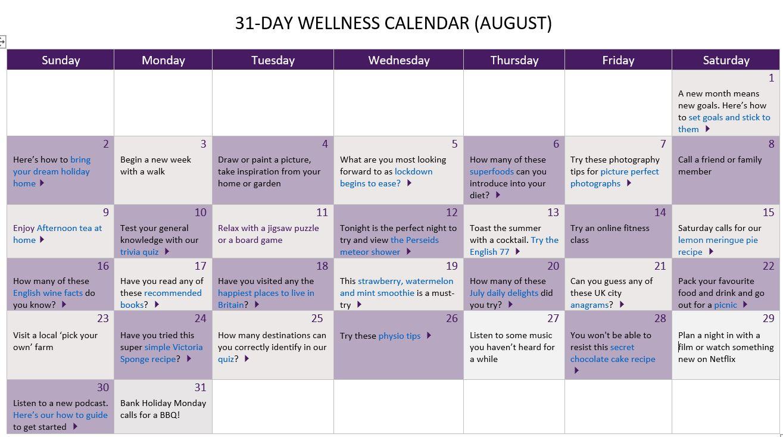August wellness calendar