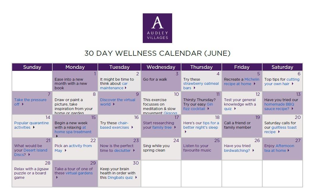 30 day wellness calendar June