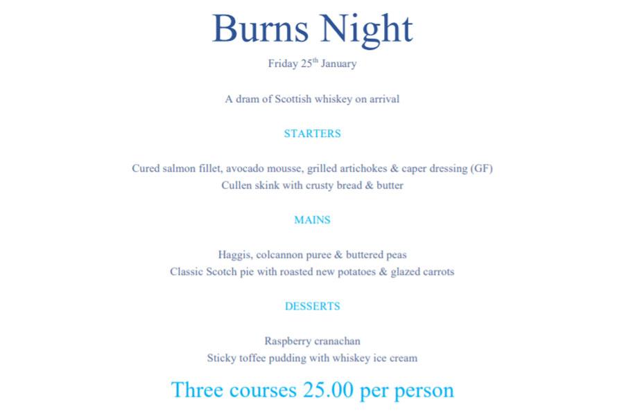 Example Burns Night menu