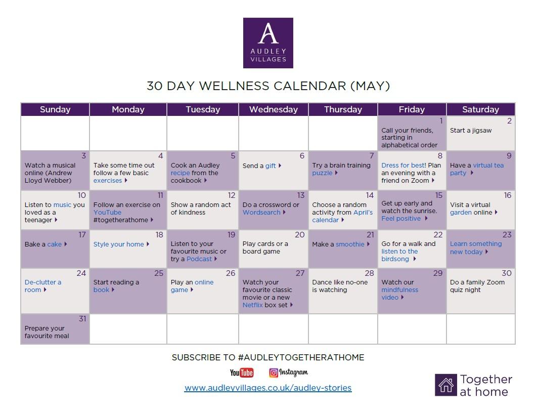 30 day wellness calendar May