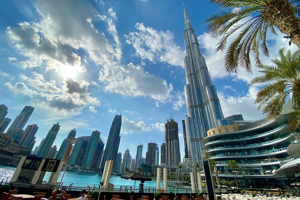 View of Dubai with sky, water and plants